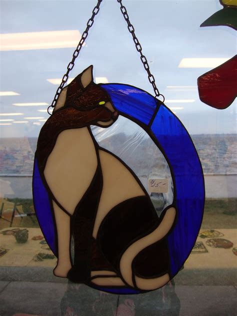stained glass cat custom made stained glass cat vitrail pinterest