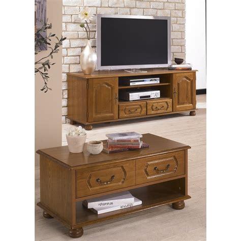 ensemble meuble tv  table basse chene rustique beaux meubles pas chers