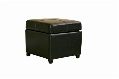Black Full Leather Square Flip Top Storage Cube Ottoman Leather Cube Ottoman Storage