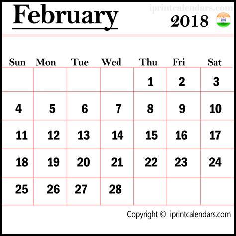 Calendar 2018 February India February 2018 Calendar India Templates Tools