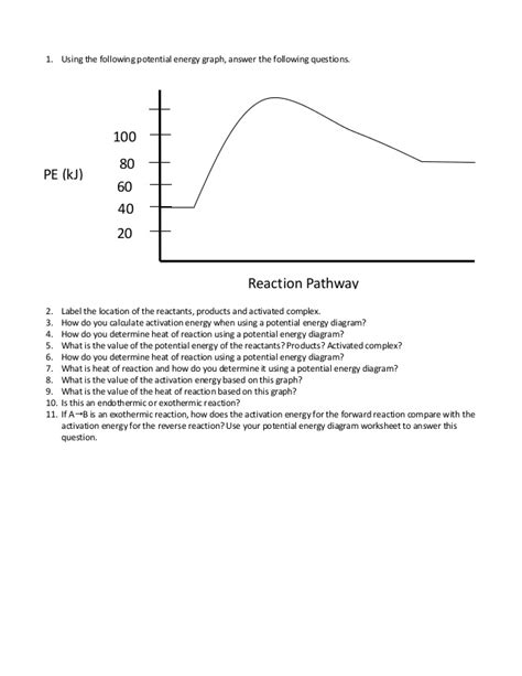 potential energy diagram worksheet potential energy diagram worksheet 1