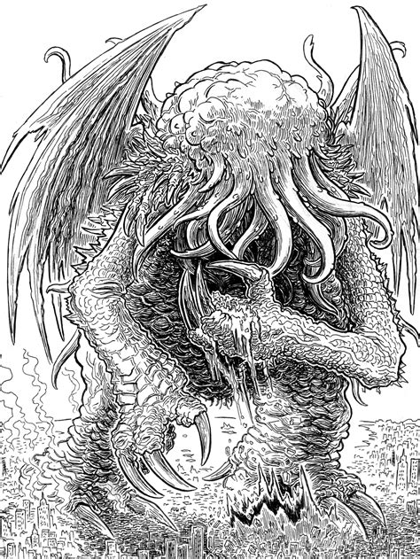 H P Lovecraft Sketches by Lovecraft Sketch Mwf Cthulhu 4 Hp Lovecraft