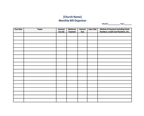 bill planner template sle bill organizer chart 4 documents in pdf