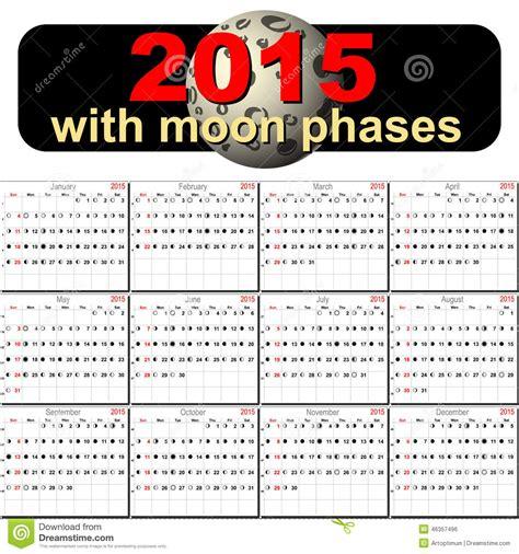 calendario del luna calendario del vector para 2015 con fases de la luna