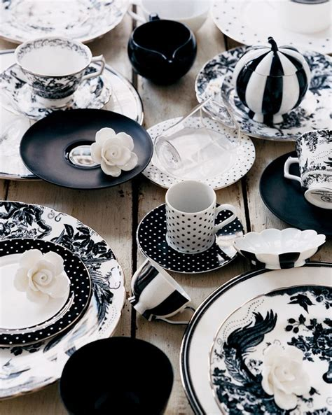 black and white pattern dishes how to color the dining table with black and white urban