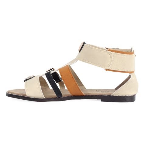 beige gladiator sandals new womens beige faux leather ankle gladiator