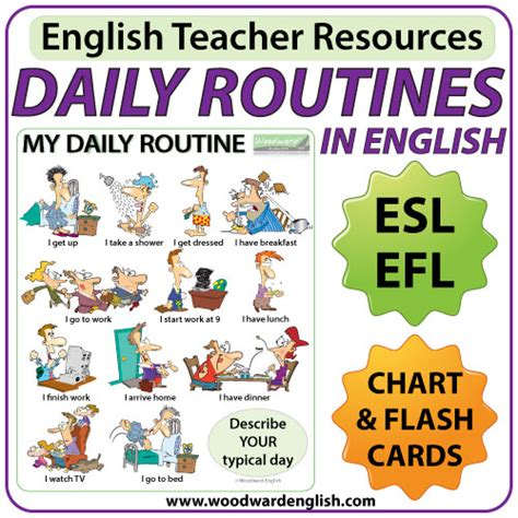 teaching themes in english daily routines in english chart flash cards woodward