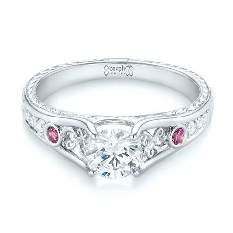 custom pink sapphire and engagement ring 103213