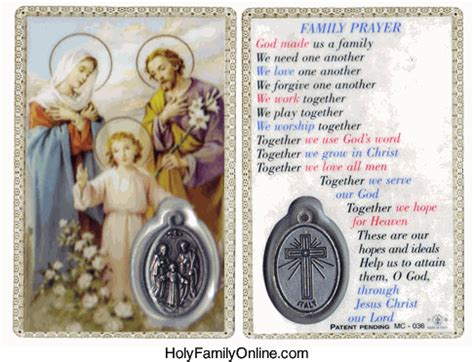 holy family cards holy family prayer family holy card with medal