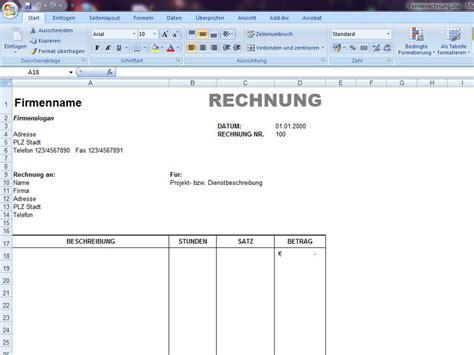 Rechnung Muster Xls Rechnung Excelvorlage De