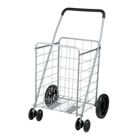 honey can do steel rolling dual wheel utility cart in gray