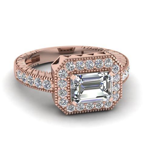east west big emerald cut vintage engagement ring