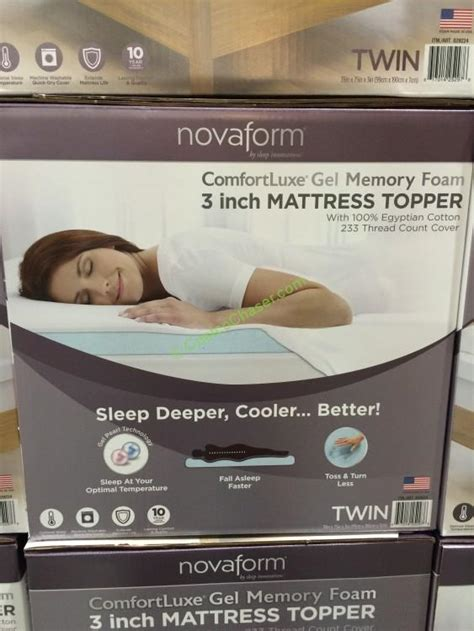 Costco Gel Memory Foam Mattress Topper by Novaform Comfortluxe 3 Memory Foam Mattress Topper