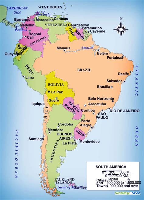 south america political map with major cities south america cities map