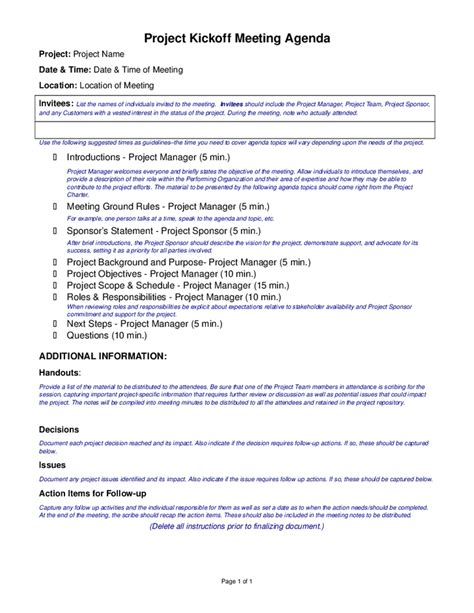 project kickoff meeting template project kickoff meeting agenda template hashdoc
