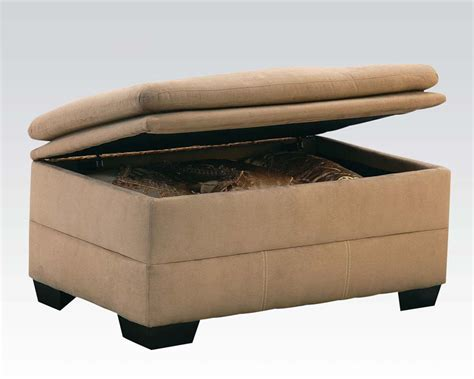 Furniture Ottoman Storage Ottoman Lucille Latte By Acme Furniture Ac50363