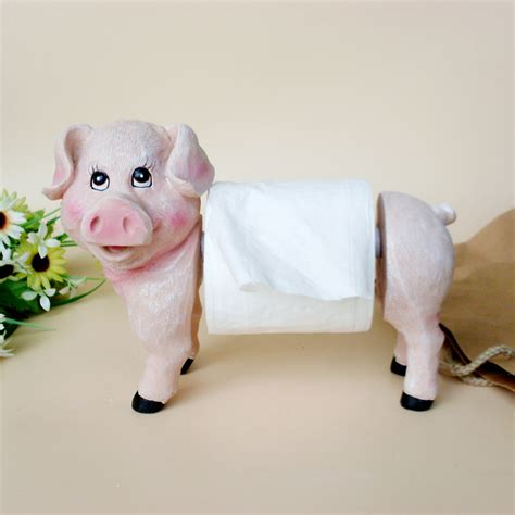 Paper Towel Holder Crafts - lovely pig image kawaii statue home table paper