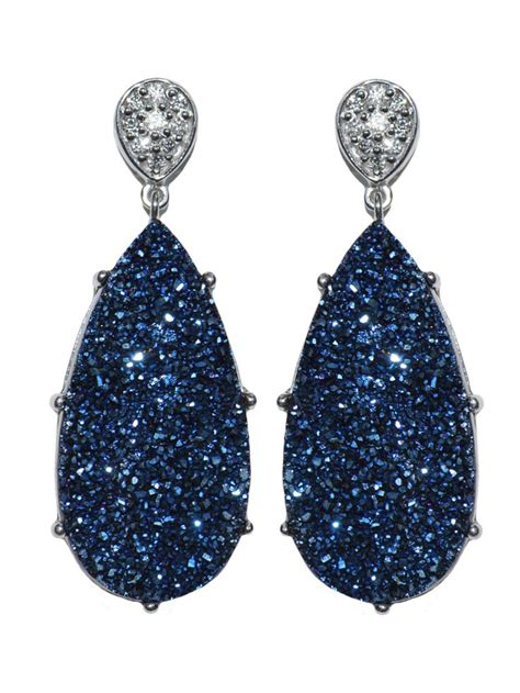 Blue Earring anzie classique pave pear earrings blue drusy