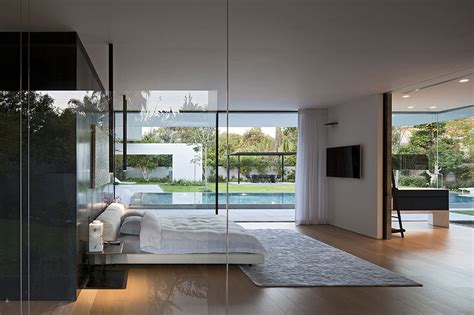 glass bedroom tranquil glass walled house with innovative furnishings