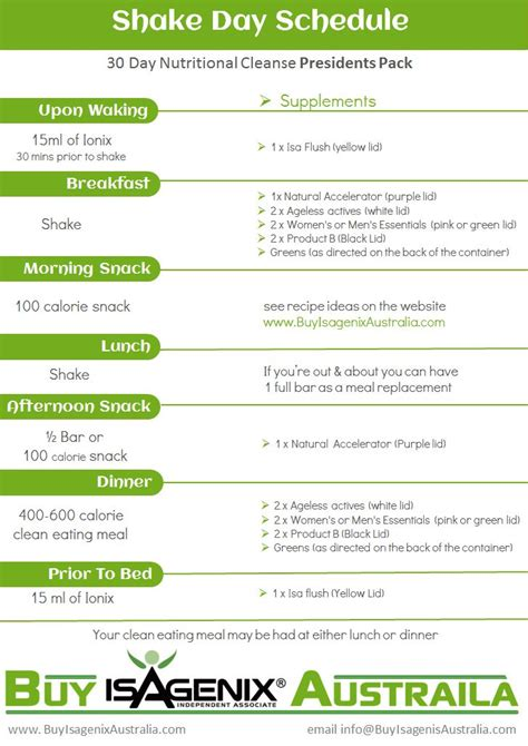 Isagenix Detox Schedule by Isagenix Shake Day Planner Search Isamazing