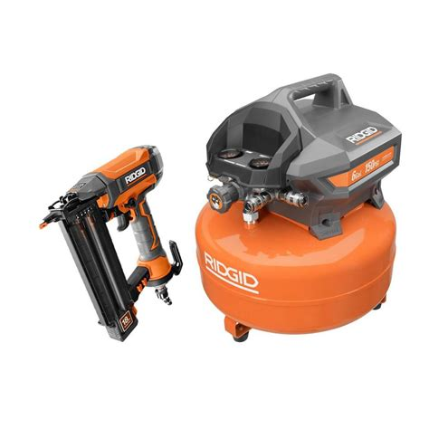 ridgid 6 gal electric pancake air compressor and 2 1 8 in 18 brad nailer of60150hb