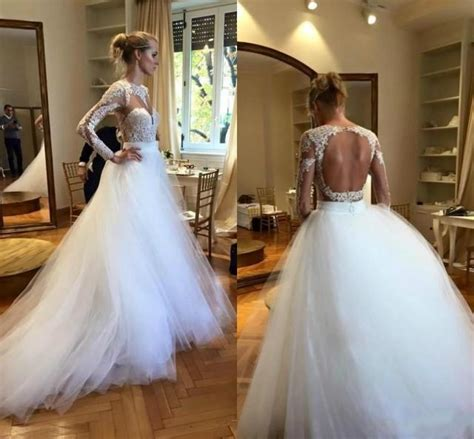 gold lace appliques long sleeves white tulle ball gowns wedding dress modest white long sleeves wedding dresses cheap scoop lace
