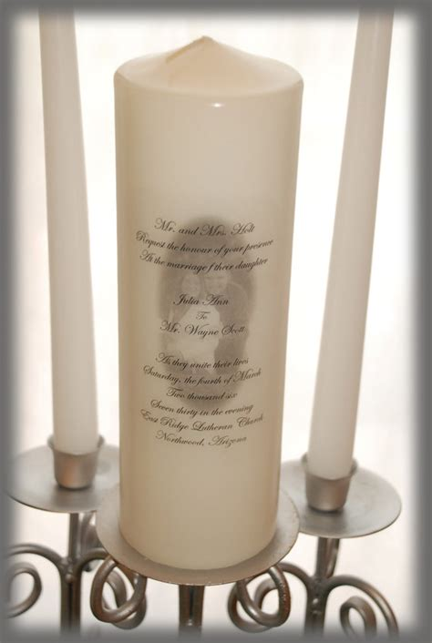 Personalized Unity Candle With Your Picture And Invitation Wording Wedding Candles Weddings Candle Invitations Templates