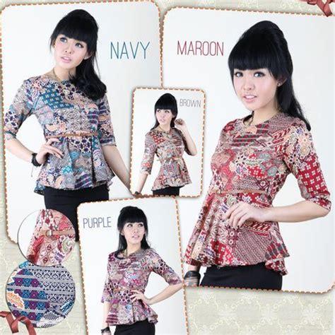 Atasan Wanita Blouse Kaos Top Stretch Baju Import Bs Sh 10 jual baju batik peplum atasan top wanita katun tradisional