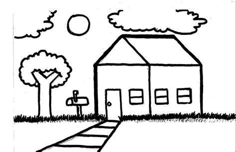 easy house drawing simple house landscape speed drawing clubanimeartist