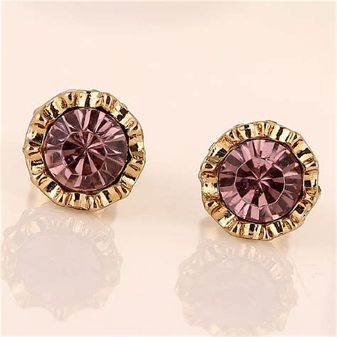 Anting Korea Sweet Flowers Resin Simple Earrings purple rhinestone inlaid sweet golden rimmed flower design fashion ear studs