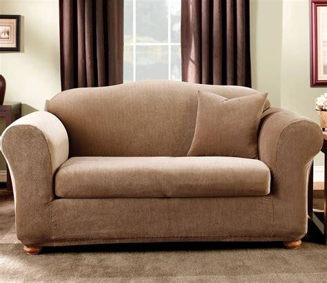 Sure Fit Stretch Sofa Slipcovers by Sure Fit Stretch Stripe 2 Loveseat Slipcover Sand