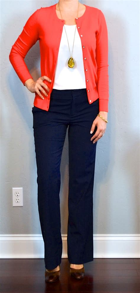 what looks good with red outfit posts red cardigan white camisole navy pants