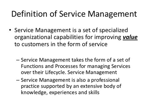 Mba Service Management Meaning by An Introduction To Service Management Itil