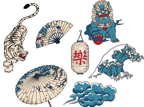 japanese national symbols set