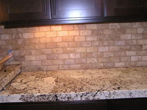 brick style travertine backsplash ideas for the home