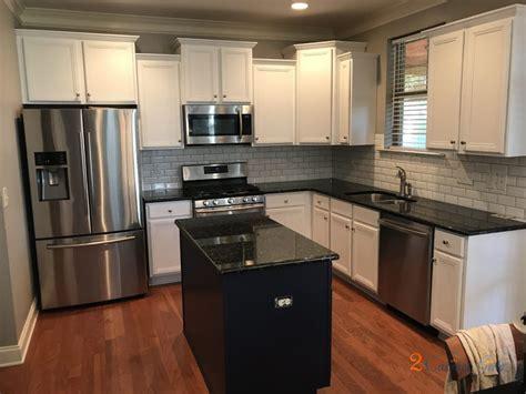 kitchen cabinet  island painted custom white  blue