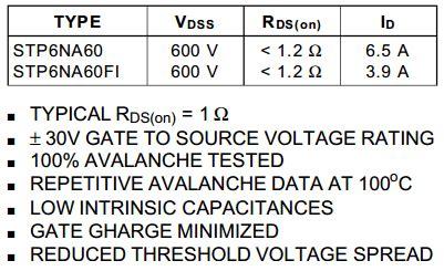 transistor mosfet p6na60fi p6na60fi datasheet p6na60fi pdf pinouts circuit stmicroelectronics