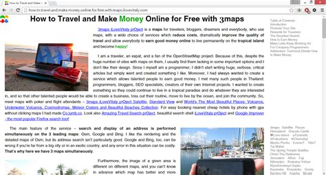 How To Make Money Online Visiting Websites - how to travel and make money online for free with maps ilovevitaly com referral