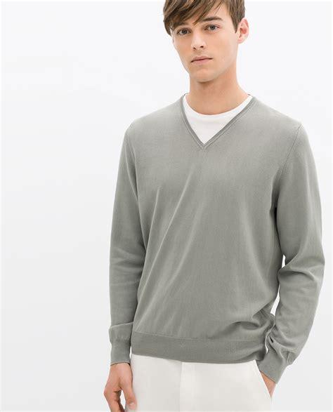 Zara Palm V Neck Shirt zara mock layer sweater in green for light green lyst