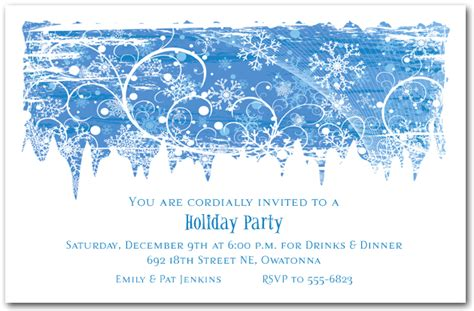 free template invitation card snowflakes swirling snowflakes invitation invitations