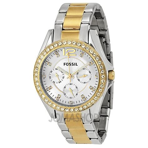 fossil multi function two tone stainless steel