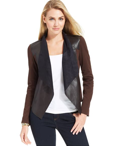 draped faux leather jacket kut from the kloth faux leather draped jacket in brown lyst