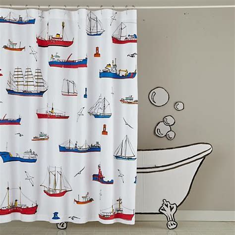 Maritime Red and Blue Shower Curtain