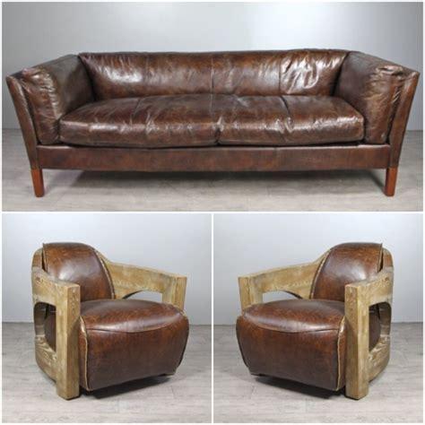 canap駸 vintage canap 233 cuir marron vintage avec 2 fauteuils cuir et