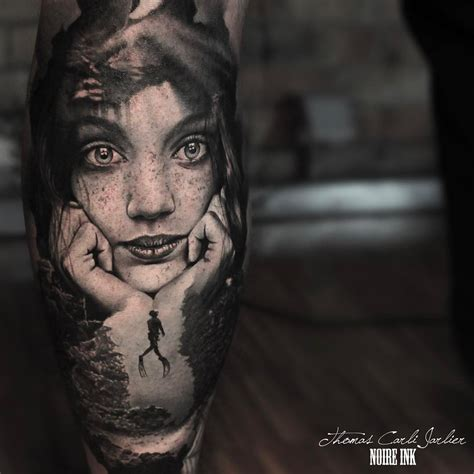 tattoo designs portrait freediver portrait mens leg best