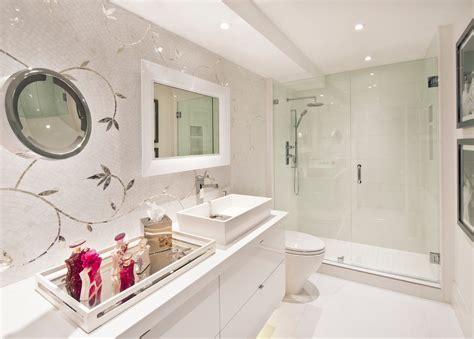 impressive mirrored tray in bathroom contemporary with