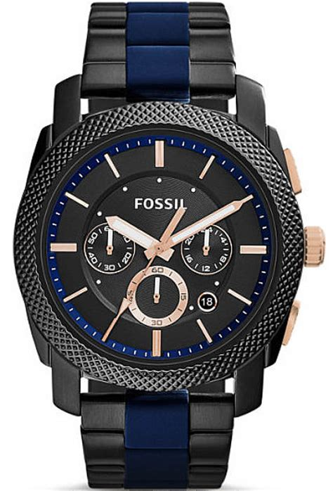 Fossil Chrono Black s fossil machine black and blue chronograph fs5164