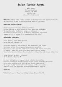 resume samples infant teacher resume sample