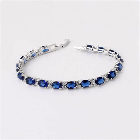 Blue Sapphire Bracelet blue sapphire bracelet 14k white gold plated sapphire tennis