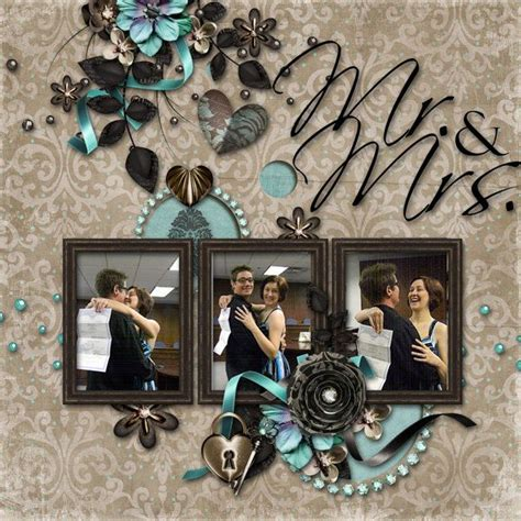 scrapbook layout wedding mr mrs wedding premade digital scrapbook page one of